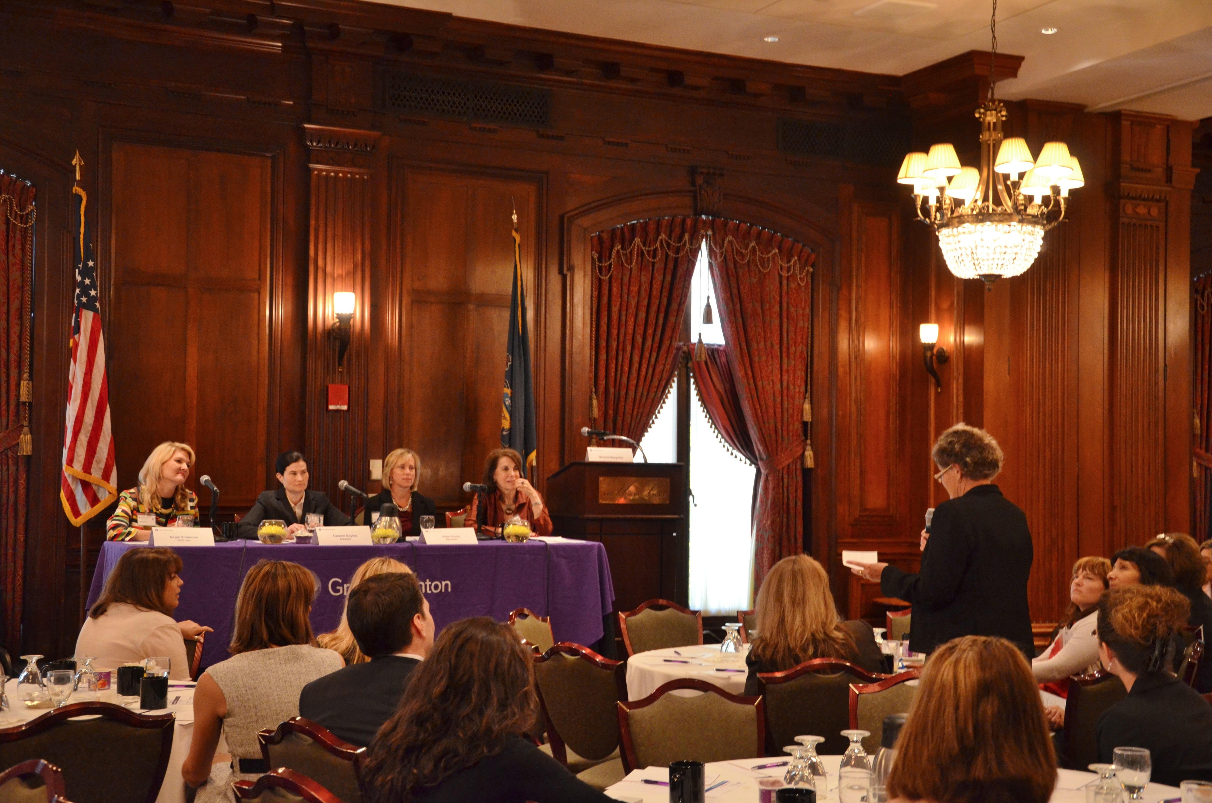 Panelists at Thursday's Women@Grant Thornton 8th Annual Women's Leadership Breakfast event answer a question from an audience member.