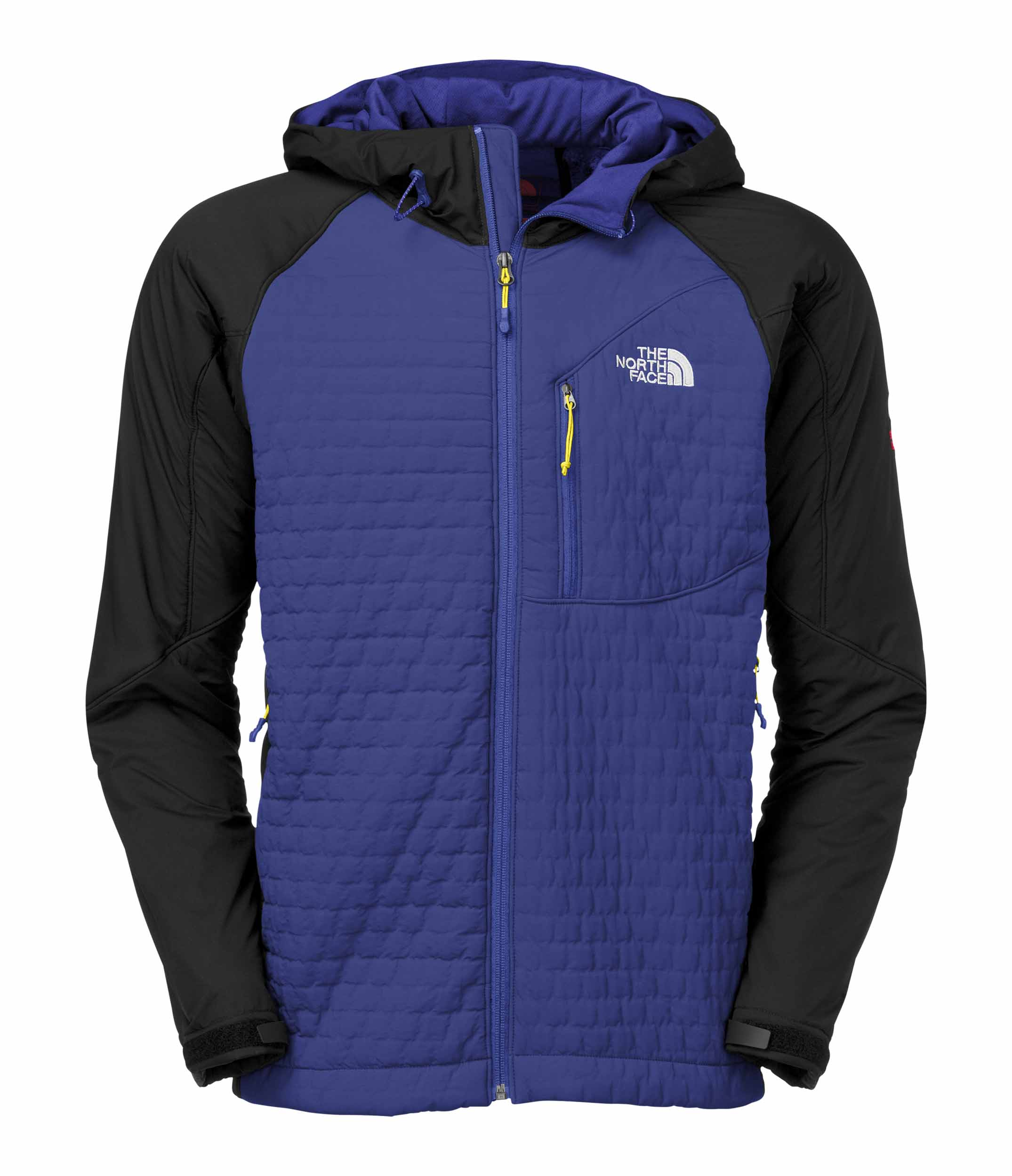 The North Face men's Polar Hooded Jacket - The Polar Hooded Jacket is a sleek, hybrid, body-mapped soft shell that combines the warmth of a puffy, the moisture transport properties of fleece, and the protection of a soft shell. The body is made of new Polartecr Power Shieldr High Loft²  soft shell fabric that's both 25 percent warmer and 25 percent lighter thanks to a revolutionary new lamination technique. A new version of Polartecr Thermal Pror is used in the sides, underarms, and hood to insulate without inhibiting breathability and moisture vapor transport. Unlike down or classic synthetic insulation, this version of Polartecr Thermal Pror is highly stable, so The North Face was able to pair it with a much more open, breathable fabric on the inside to significantly improve moisture movement and eliminate the vapor barrier phenomenon of most puffies. The result is the warmest, lightest, most compressible soft shell on the market.