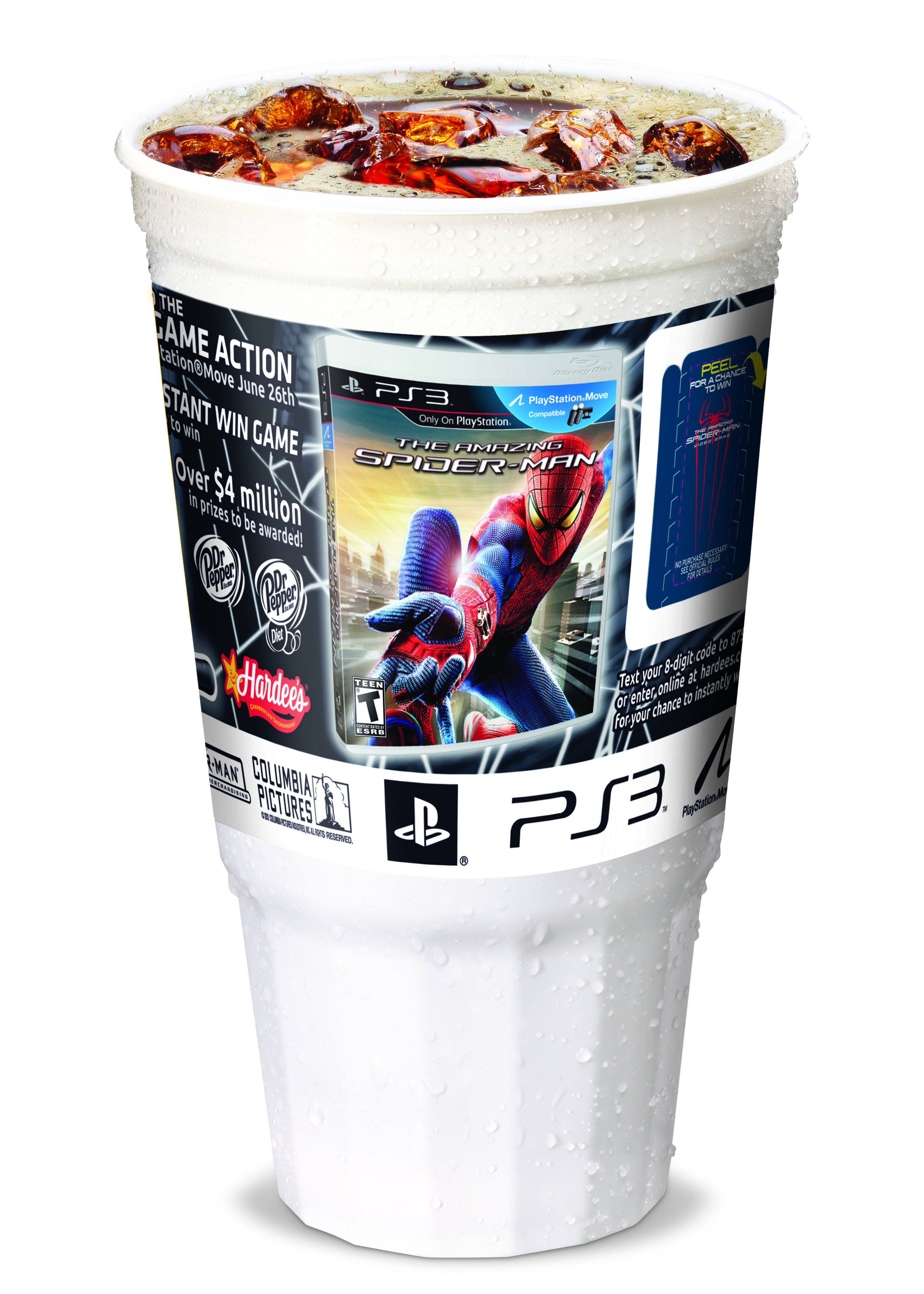 Carl's Jr. and Hardee's is offering a 40-ounce collectors' cup. The Amazing Spider-Man Video Game Instant-Win cup promotion features a total prize pool valued at more than $7 million.