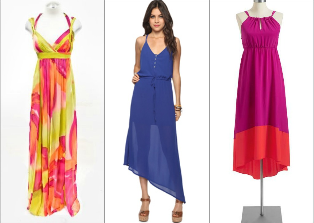 Go to great lengths for any occassion, with floor grazing gowns and maxi dresses available at Legends Outlets Kansas City. Featured dresses from: BCBGMAXAZRIA Factory, Forever 21 and Old Navy Outlet. (click image to enlarge and/or save.)