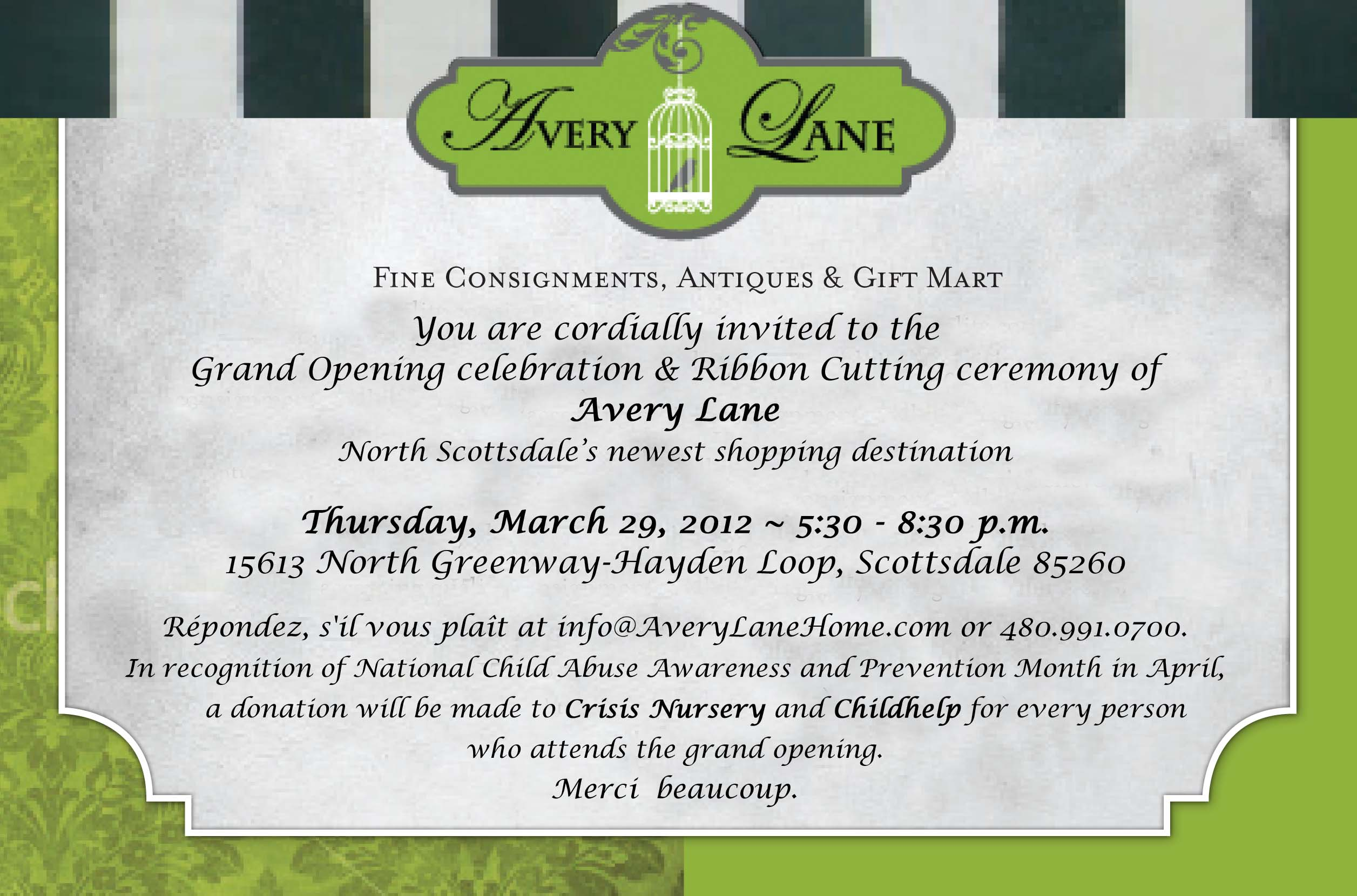 Avery Lane Grand Opening Invitation