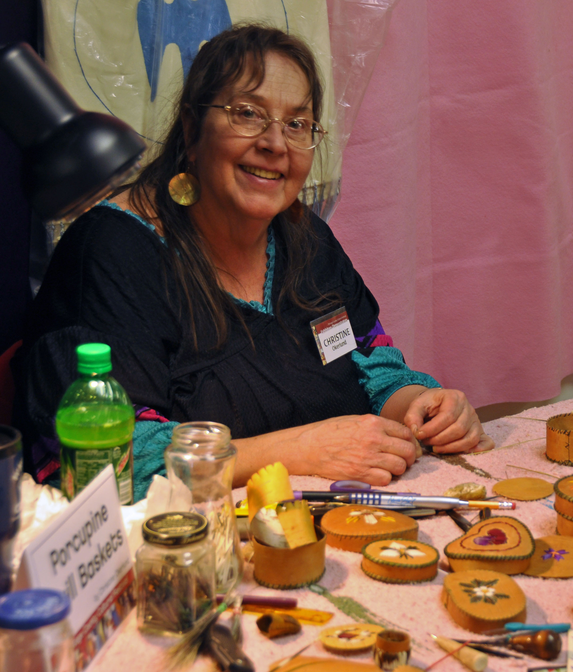 Christine Okerlund of Wittenberg makes birchbark baskets decorated with quill embroidery.