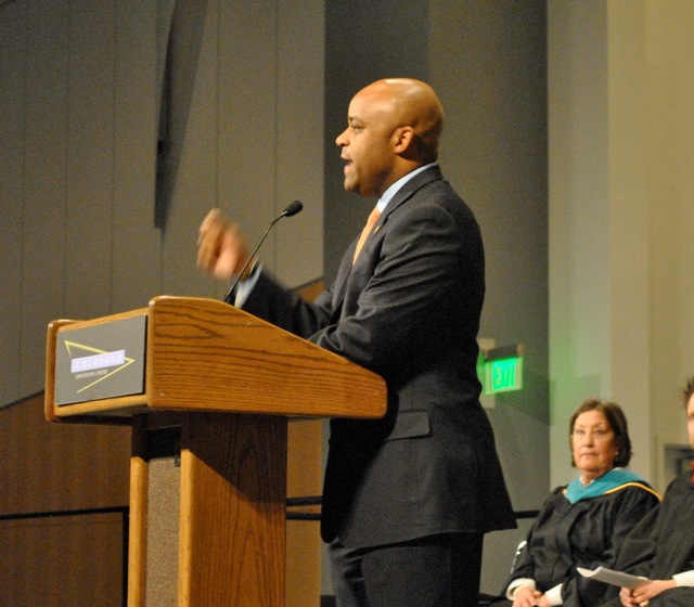 Denver Mayor Michael B. Hancock gives a stirring commencement address to Westwood College graduates on Dec. 16, 2011.