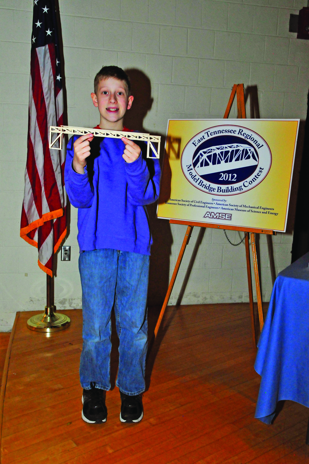 Noah Hylton, an Oak Ridge homeschool student, received second place for his model bridge in the Aesthetics category at the East Tennessee Model Bridge Buillding Contest.