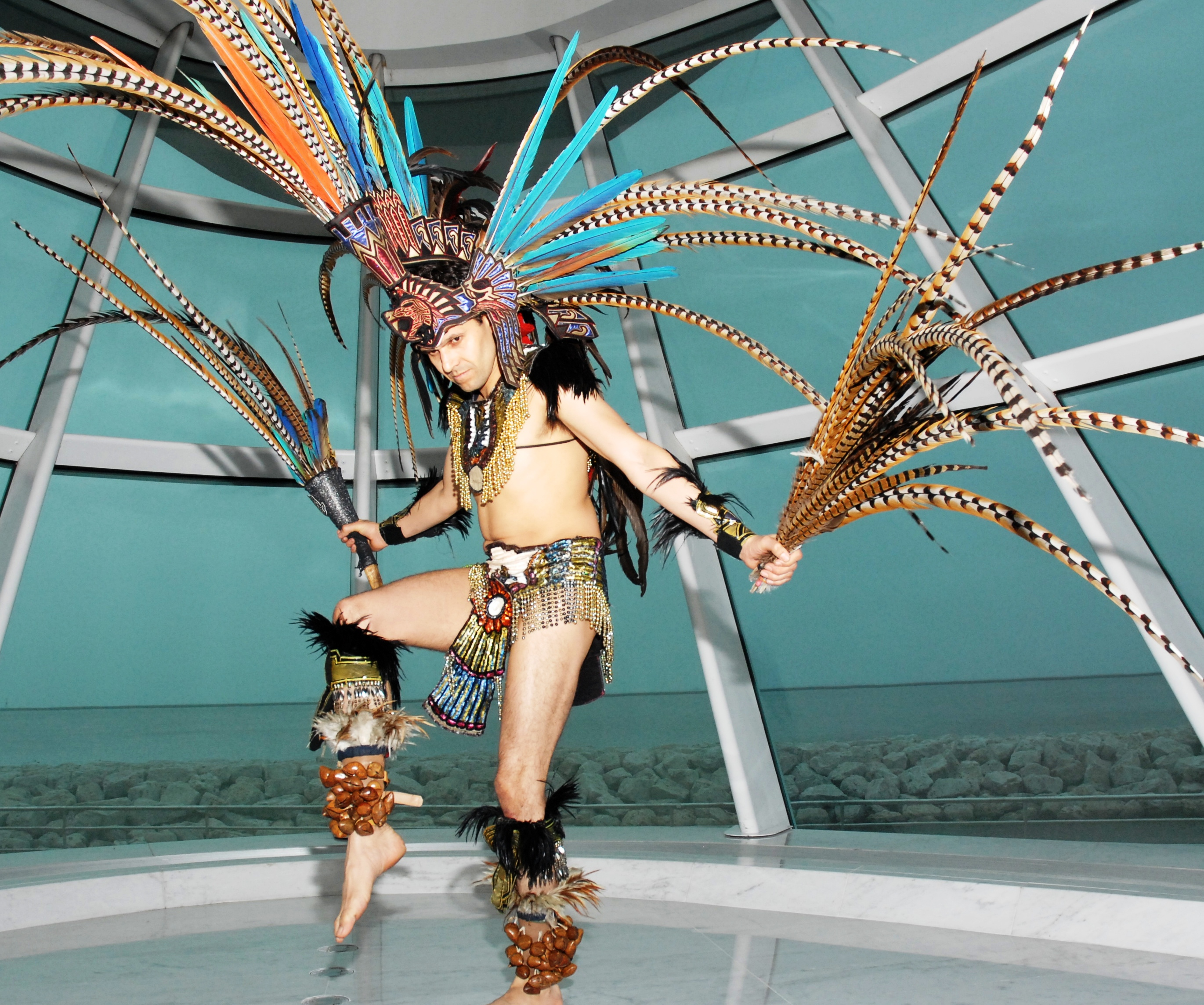 Roberto Franco of Greendale, WI is an Aztec/Mexica dancer, drummer and regalia maker.