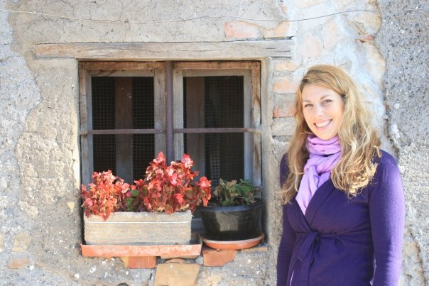 A photo of me outside one of the quaint houses in Casperia, Italy
