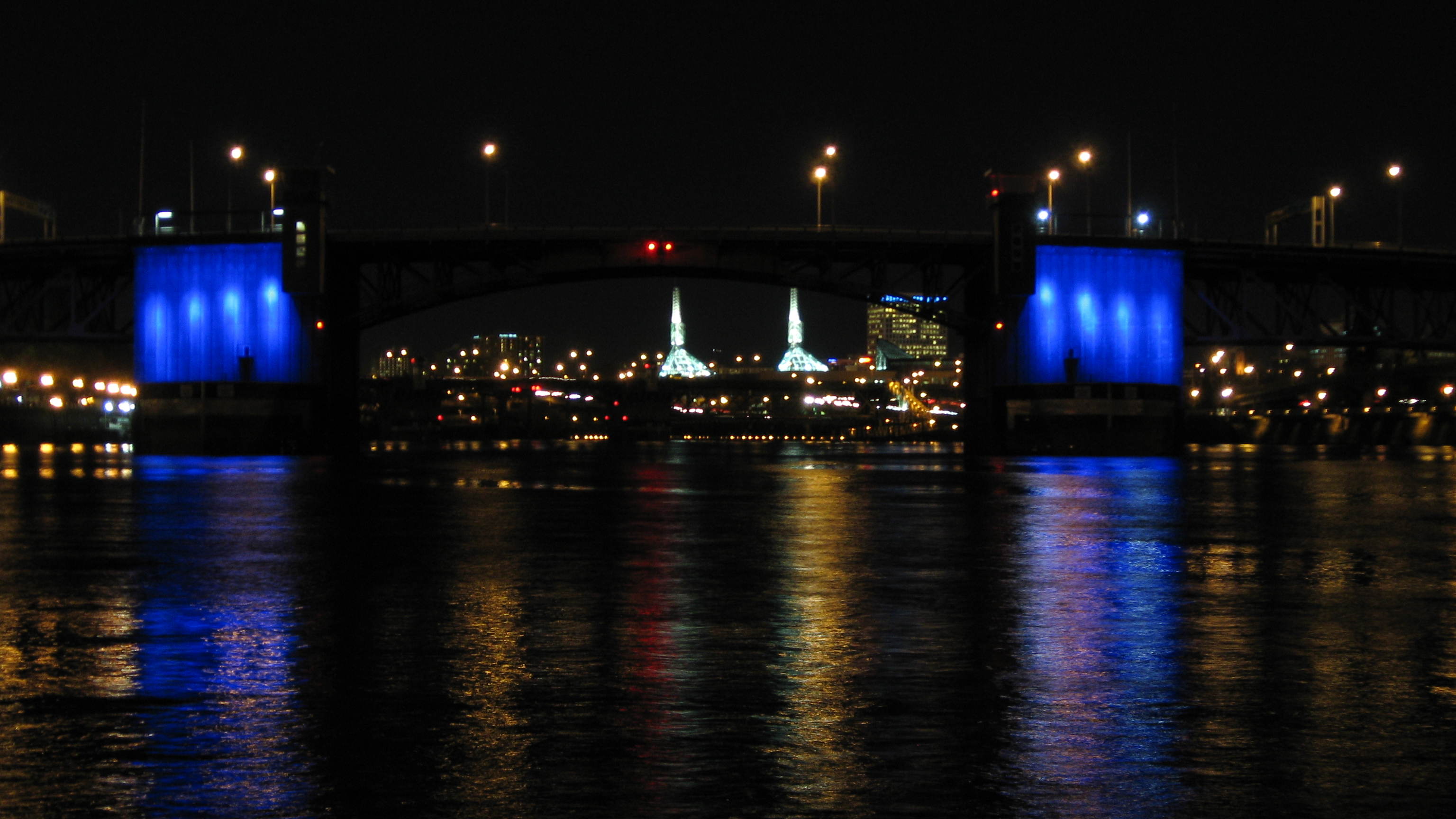 Morrison Bridge in Portland is lit blue to honor World Autism Awareness Day on April 2, 2012.