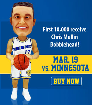 Chris Mullin Bobblehead Night, presented by Esurance, is Monday, March 19.  That same night, the Warriors will officially retire Mullin's #17 jersey.