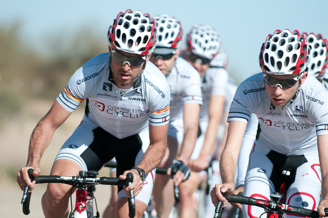 "Team captain and Spanish rider Francisco ""Paco"" Mancebo leading out the squad. 
