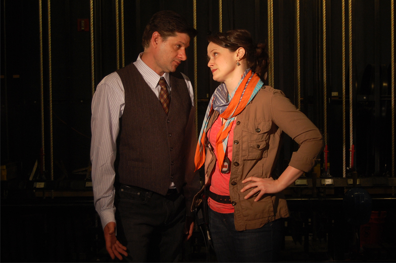 (l to r) Gabriel Marin as Harry and Jessica Wortham as Roxanne in San Jose Rep's The Understudy. Photo: Ana Zavala