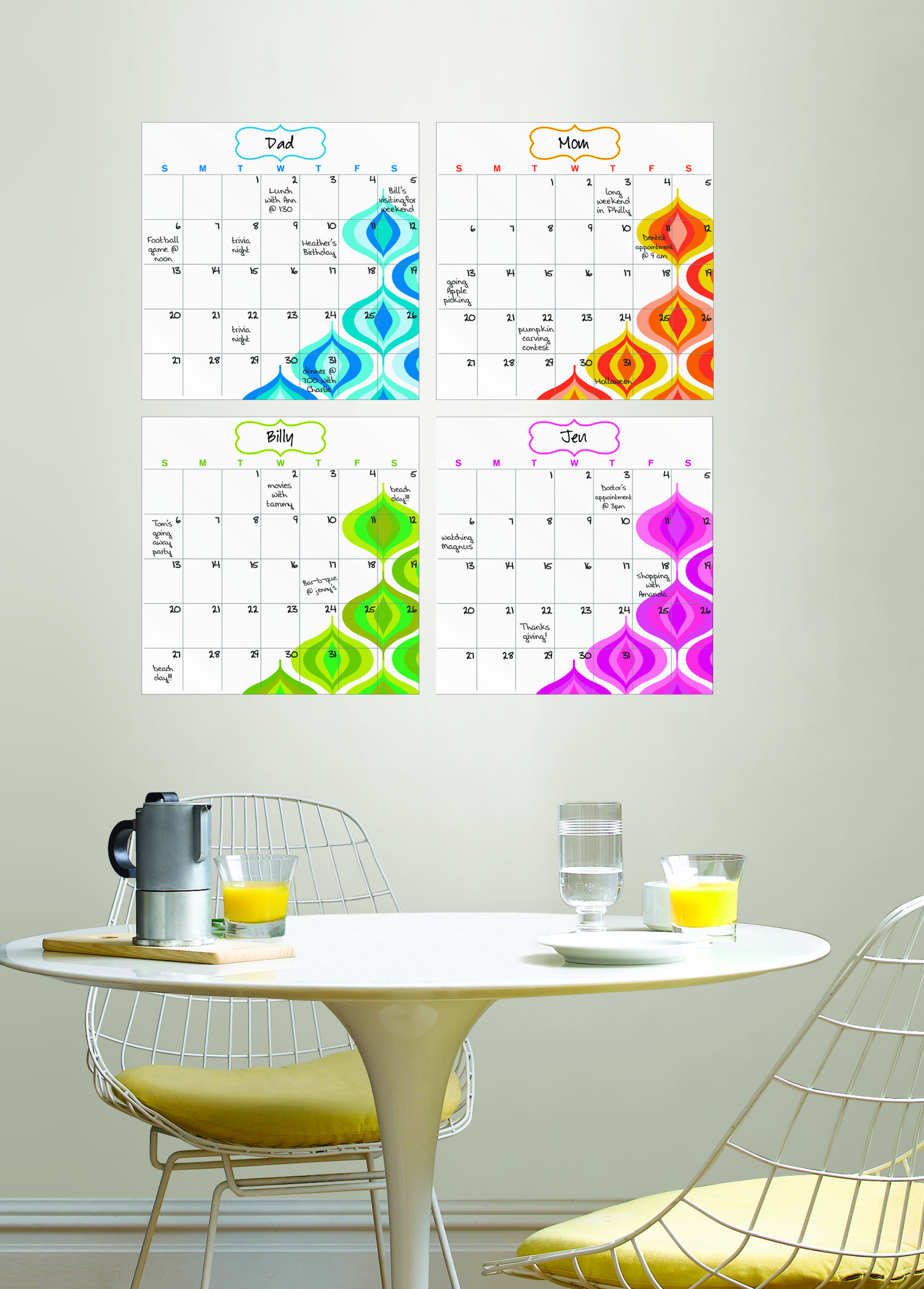 WallPops by Jonathan Adler Bargello Wave Four-Piece Dry Erase Calendar set