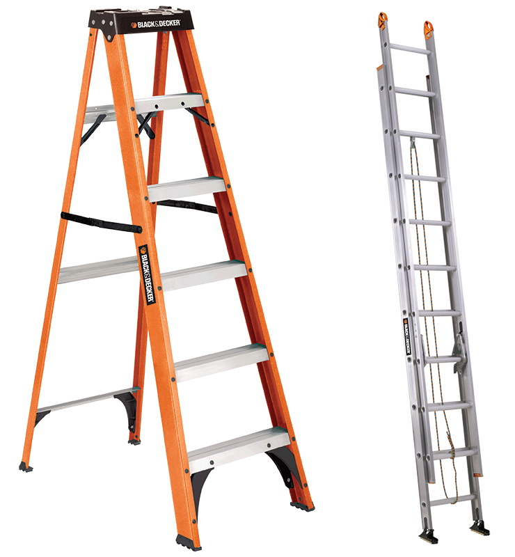 Among the new Black & Decker ladders is the fiberglass BXL3110 stepladder and the BXL2120 aluminum extension ladder.