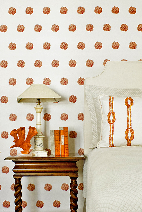 Orange Monkey Knot Patterned wallcovering