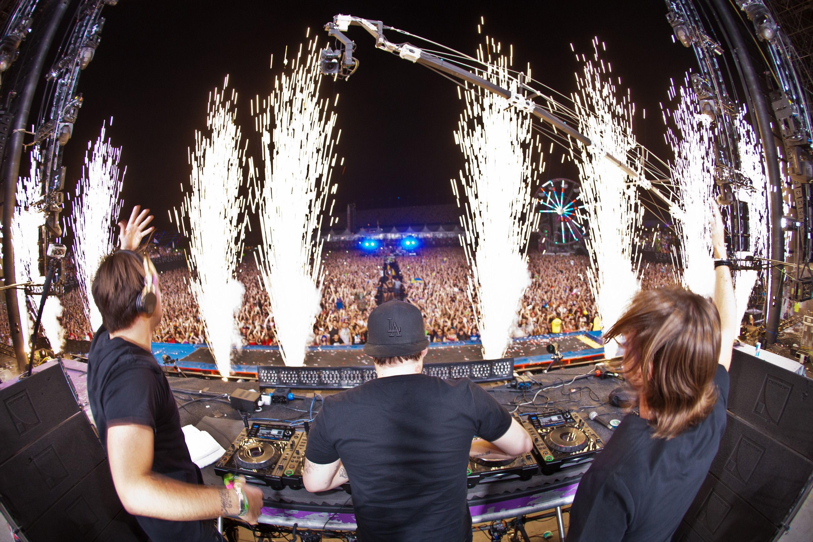 Swedish House Mafia at Electric Daisy Carnival&#39;s main stage in June 2011.