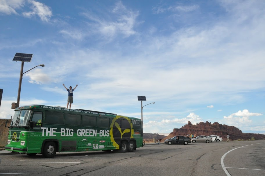 The Big Green Bus at the Grand Canyon.