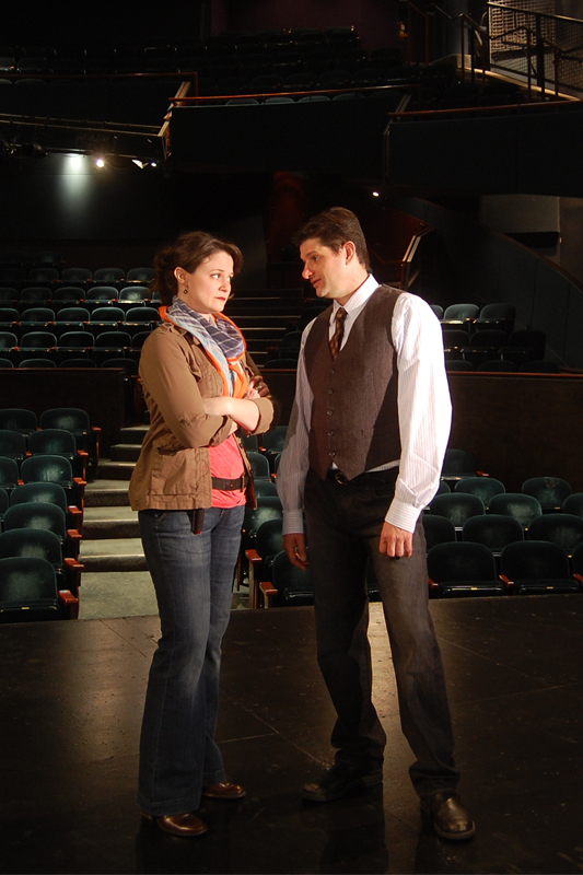 (l to r) Jessica Wortham as Roxanne and Gabriel Marin as Harry in San Jose Rep's The Understudy. Photo: Ana Zavala