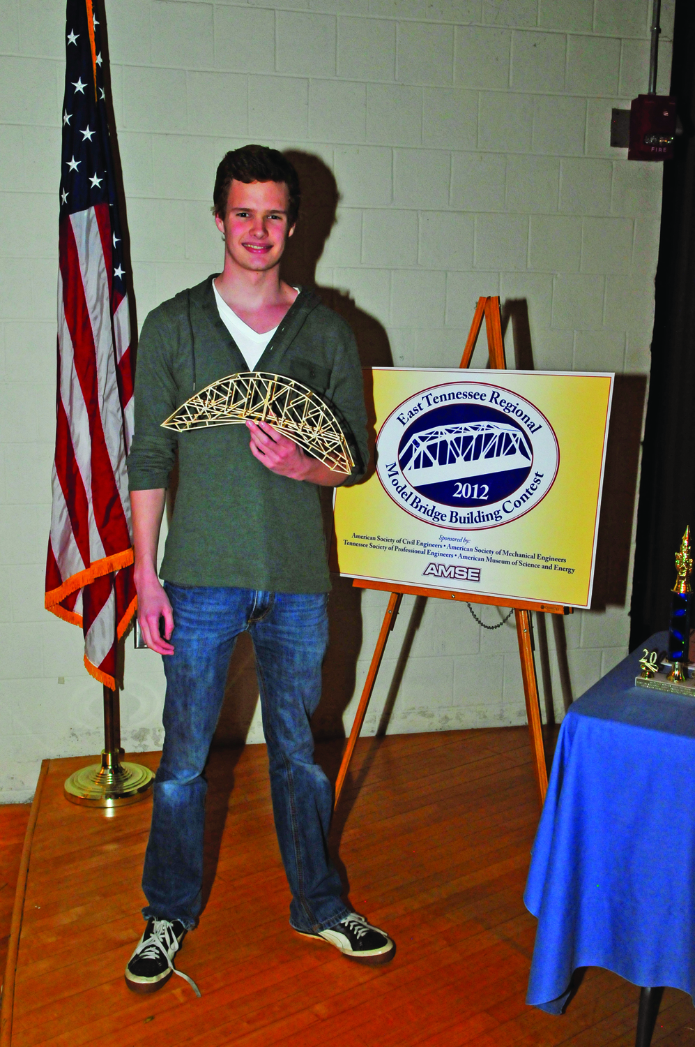 Cameron Bard, Bearden High School student, received first place in the Aesthetics category for his bridge in the East Tennessee Model Bridge Building Contest.