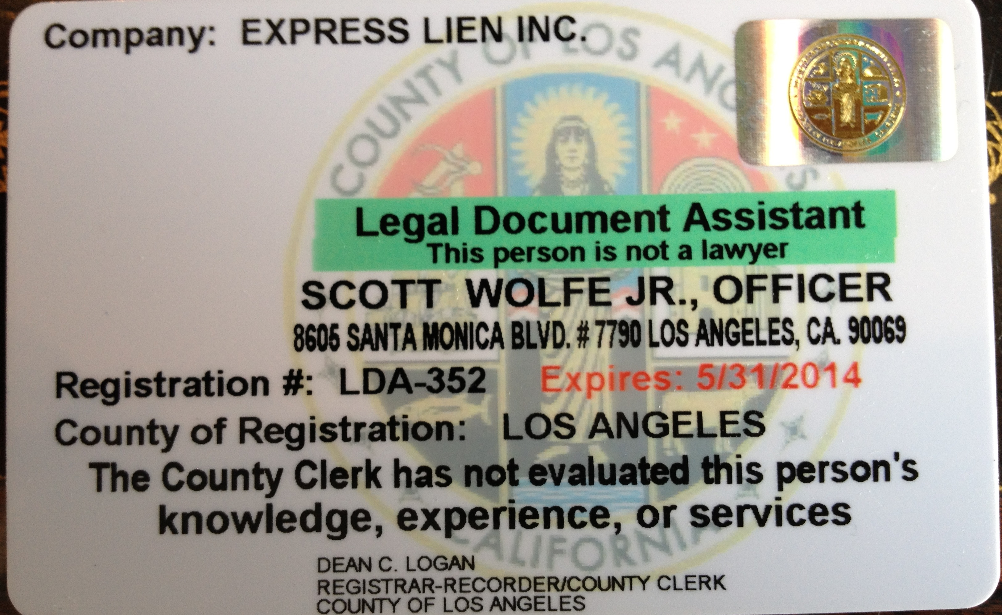 Legal Document Assistance License for Zlien, who files mechanics liens, bond claims and preliminary notices across California and the United States.