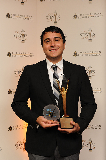 Daniel Robles accepts the Stevie Awards for People's Choice for Favorite Consumer Product and Gold for Vemma Bod-e App