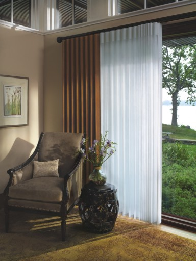 Hunter Douglas Luminetter Privacy Sheers feature soft fabric vanes attached to a sheer fabric panel that runs vertically across the window and also provide excellent UV protection.