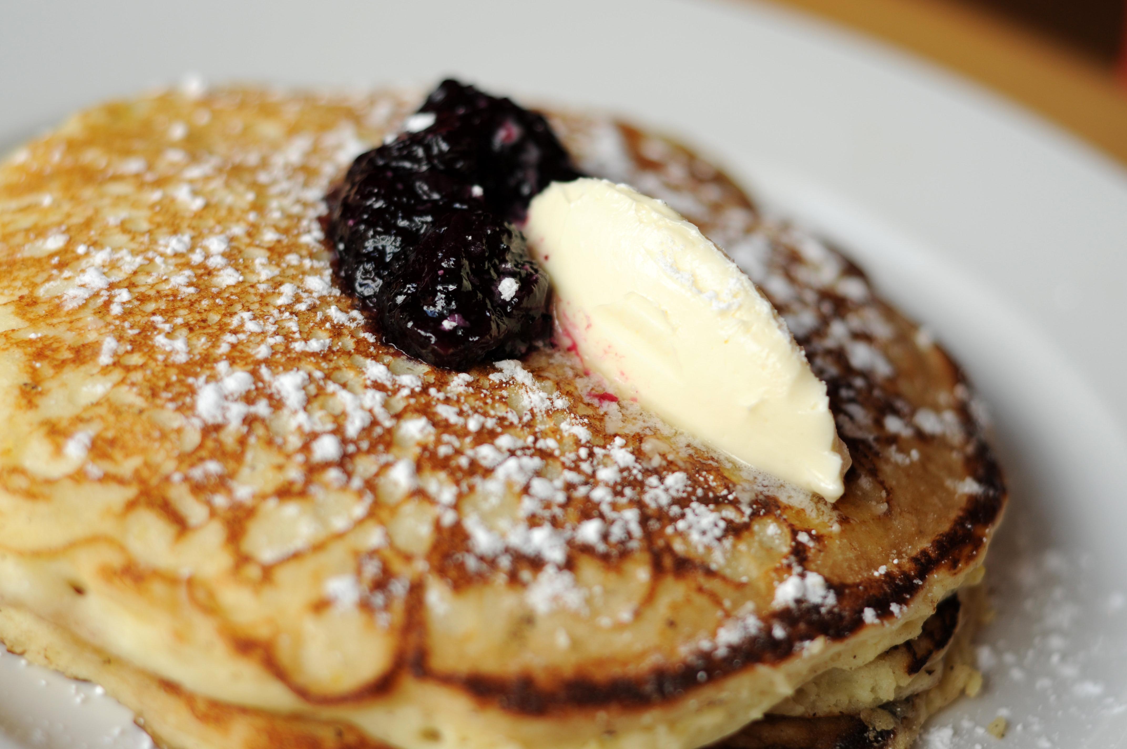 Lemon Ricotta Pancakes with blueberries and sweet lemon butter