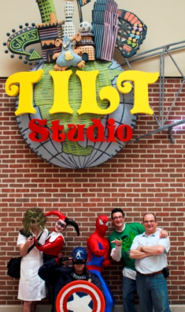 Left to right: John Rifici, Ami Reader, Joe Kuzmunich, Spiderman, Sal Fichera (owner of Adventure Land Store), Rob Mondelli (General Manager of Tilt Studio). Photo by Jesse Czapkewicz