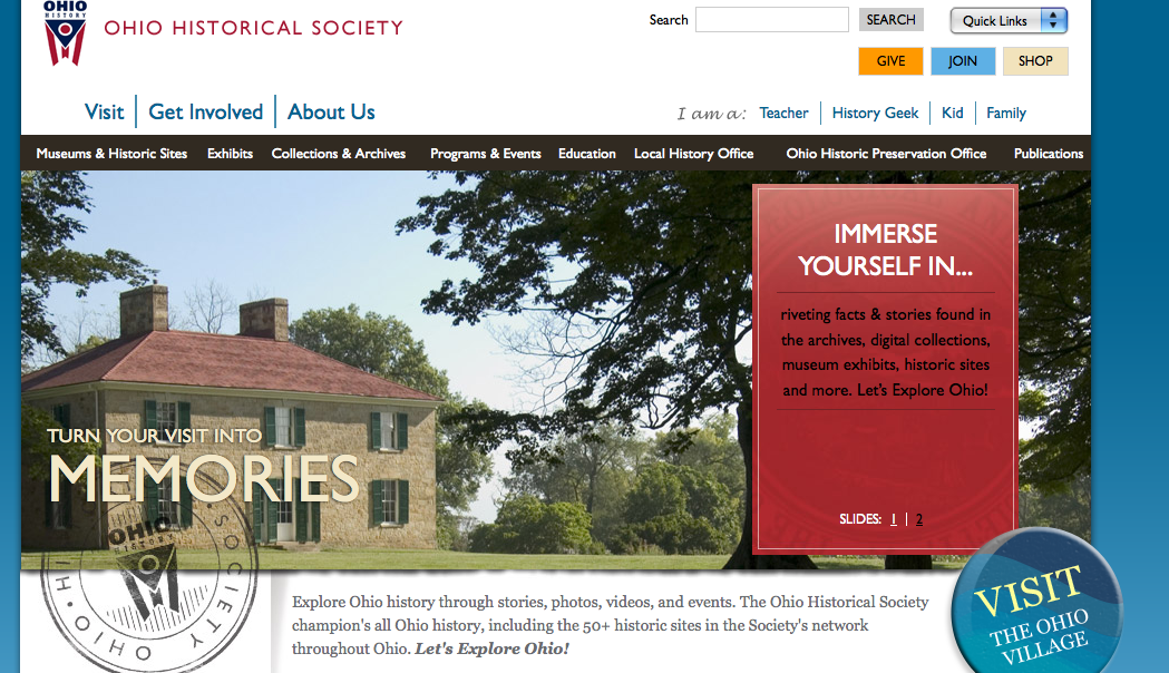 The homepage of the new ohiohistory.org.