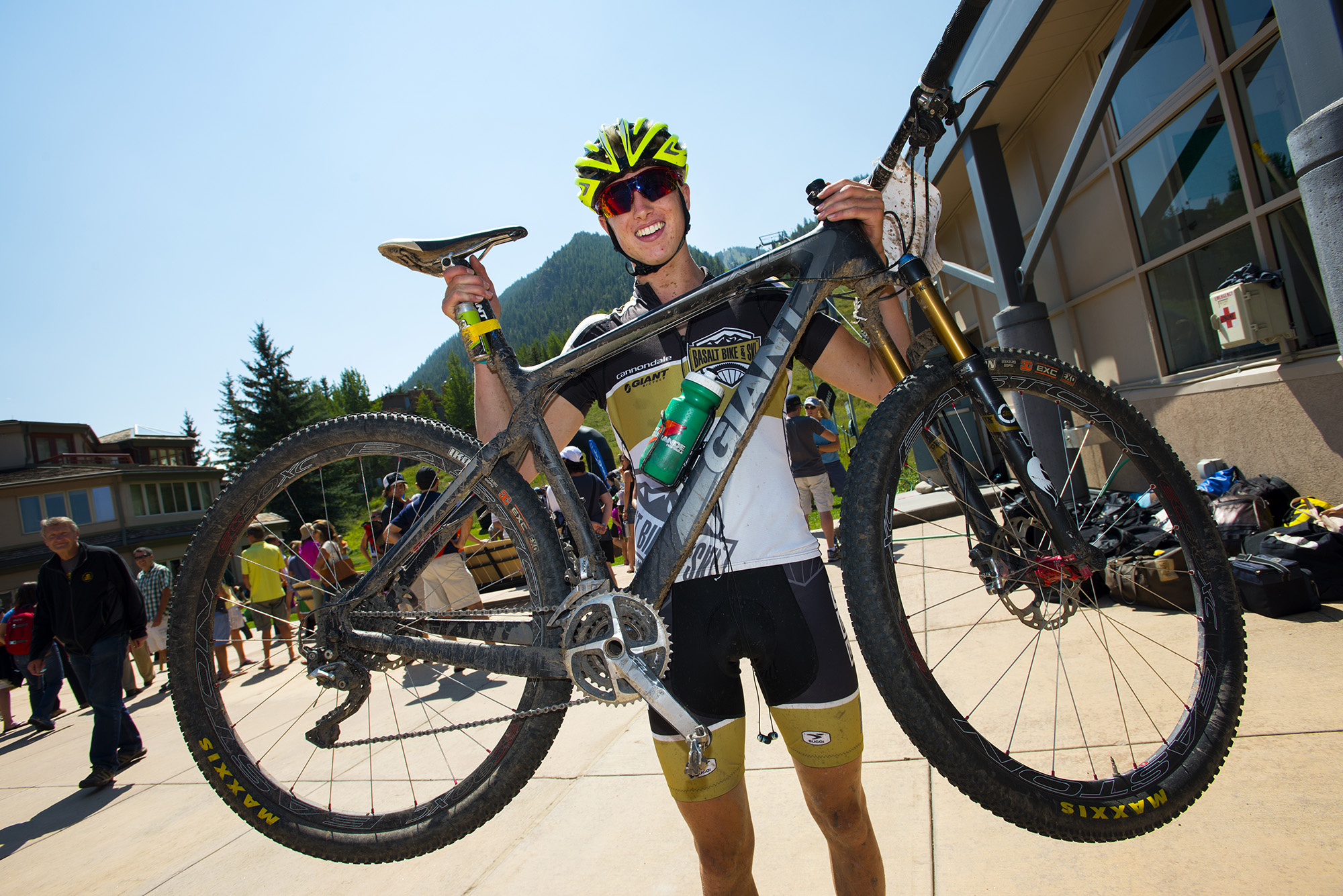 Keegan Swirbul celebrates 1st place in the 2nd Annual Power of Four mountain bike race. Photo by Daniel Bayer.