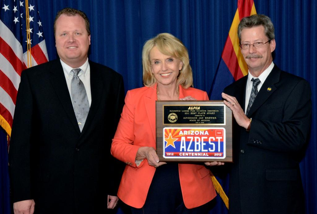 Pictured Left to Right: ALPCA Arizona Chapter president Clark Wothe; Governor Jan Brewer; and ALPCA President, Greg Gibson.