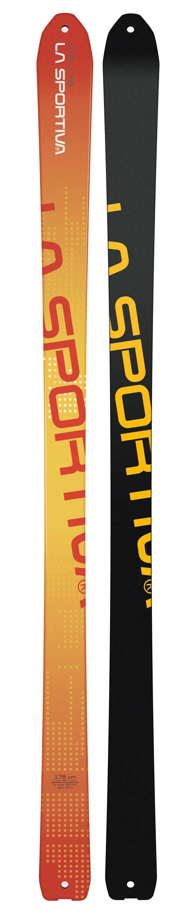 The GTR is a touring-friendly ski that measures 114-82-104, is available in 158, 168, and 178cm lengths and weighs just 1245g in the 168cm length so that it goes up as well as it goes down.