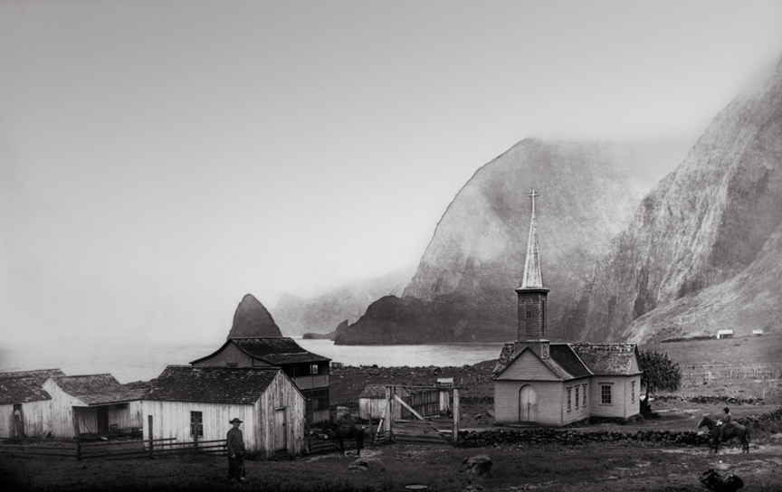 Father Damien with house and church on Kalaupapa, historic