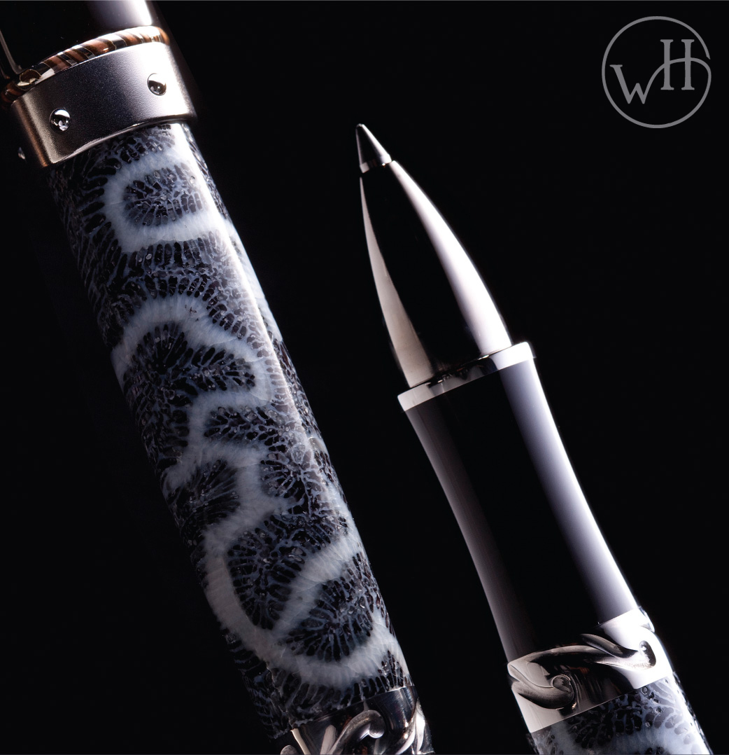 The RB8-1101 rollerball pen featuring fossil coral from the Florida Keys
