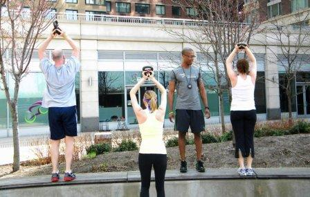 @MrRayFit working out with clients @pedalnyc's private courtyard!