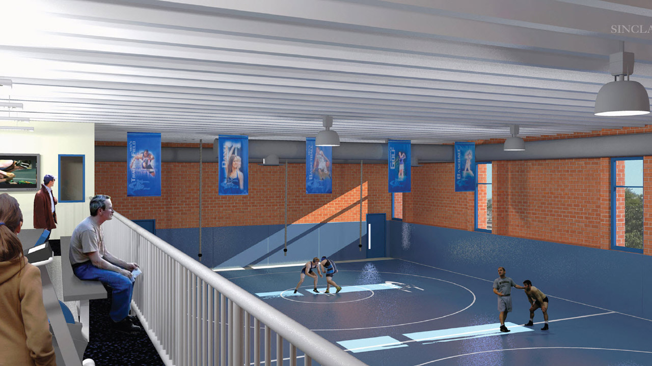 Architectural rendering of Concordia University, Nebraska's new wrestling practice facility