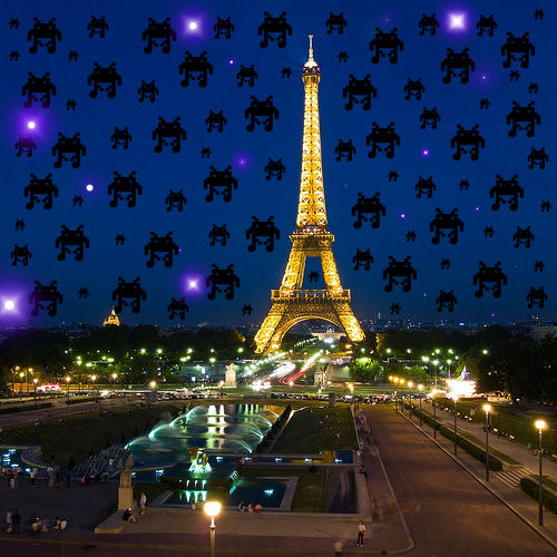 Update: Alien Robots appear over Paris