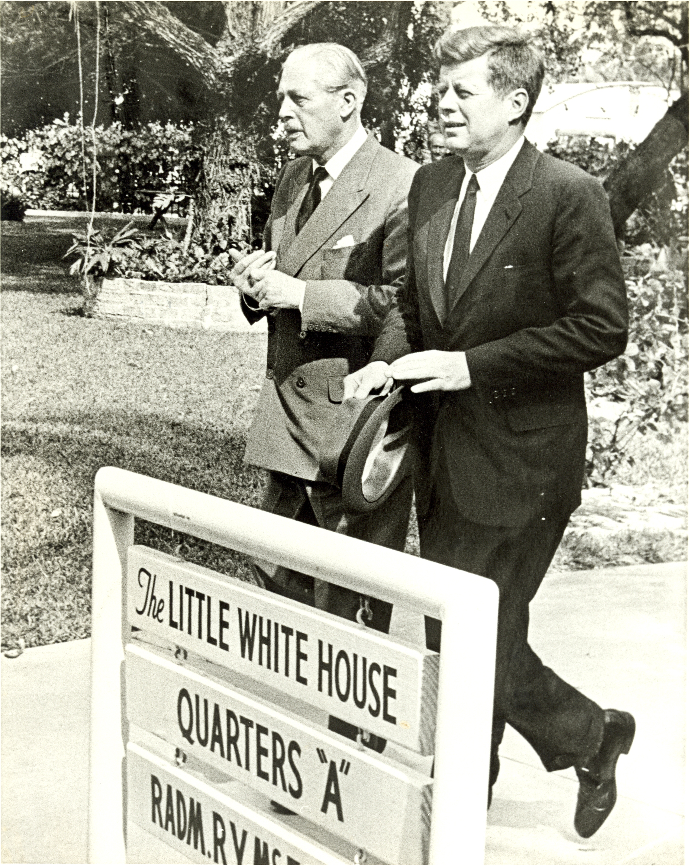 President J F Kennedy and British Prime Minister Harold Macmillan at the Truman Little White House in Key West, Florida : March 1961